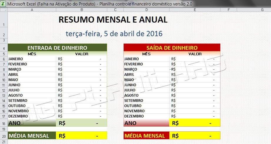planilha excel controle financeiro pessoal gastos mensais r 10 00