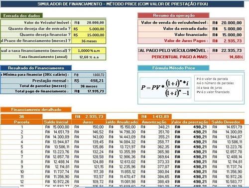 planilha excel - financiamento price - veículos e imóveis