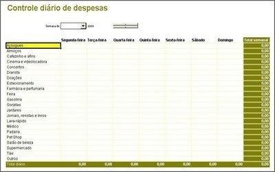 planilha excel info - controle diário de despesas 2015