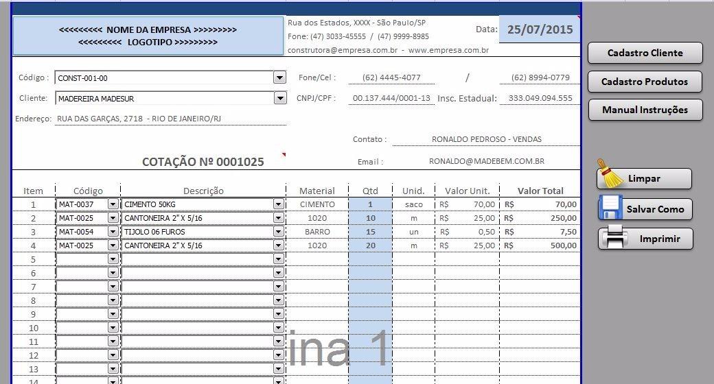 Planilha Excel Pronta Cotaçãocadastro Produtos E Clientes