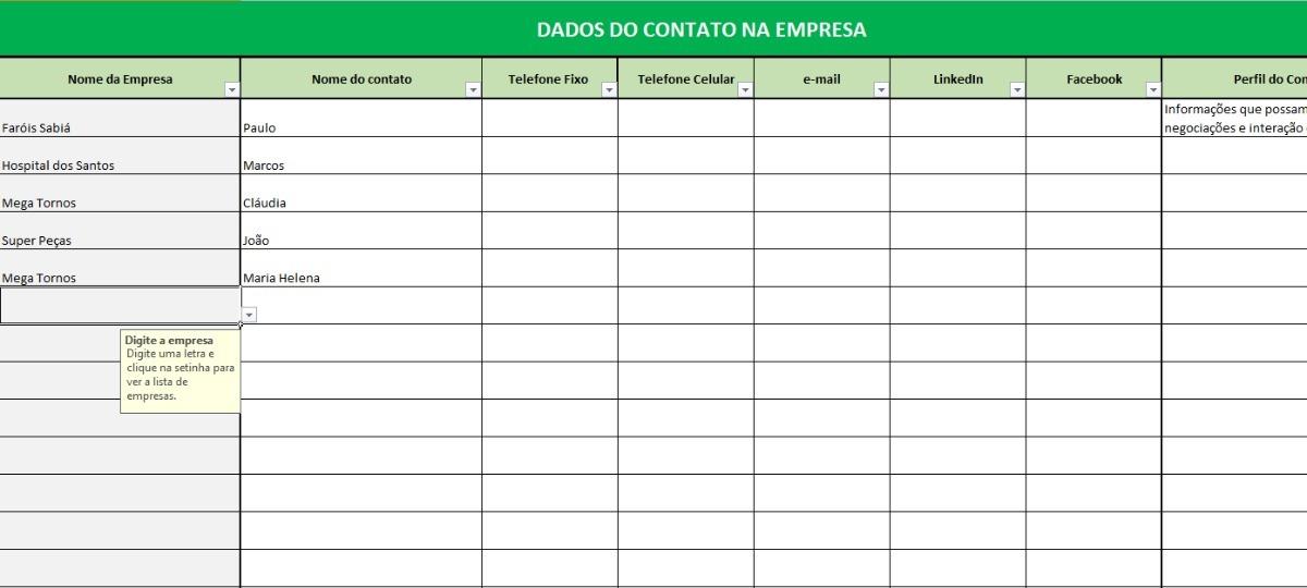 Planilha Excel Prospecção De Clientes Contatos E Vendas