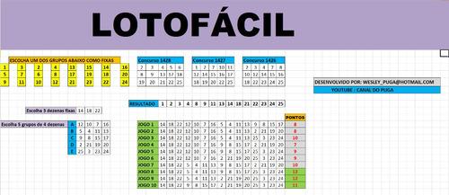 planilha lotofacil - 23 dezenas com 3 fixas