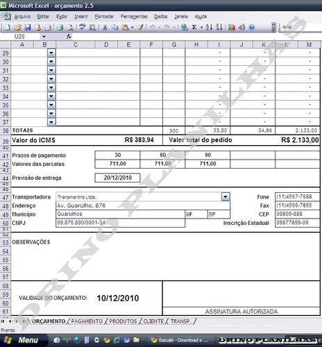 planilha orçamento para vendas