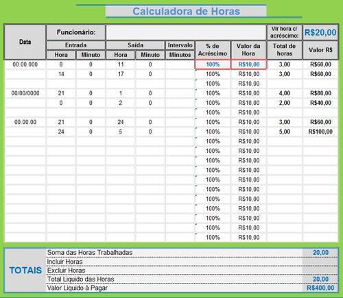 planilha p/ cálculo horas trabalhadas do empregado  (excel)