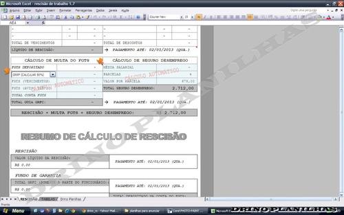 planilha para cálculo de rescisão de contrato de trabalho