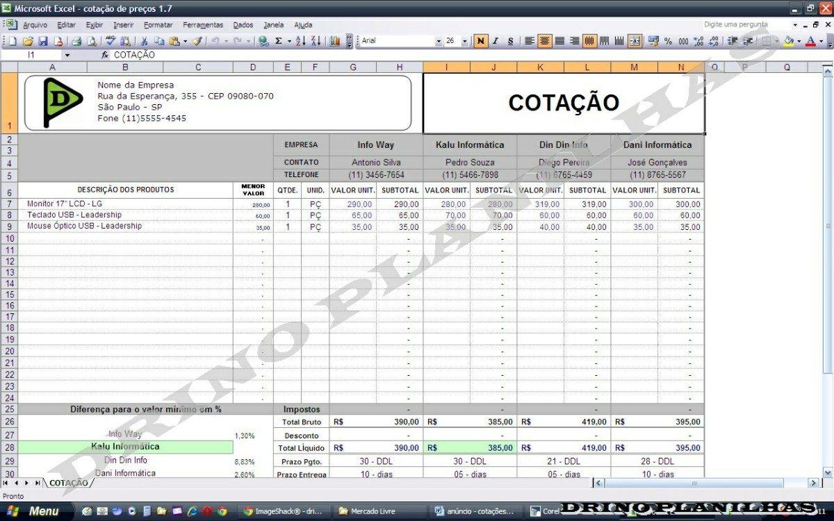 Planilha Para Cotação De Preços Compara Até 4 Cotações