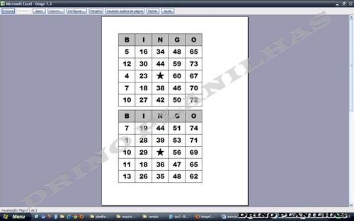 planilha para gerar cartelas de bingo