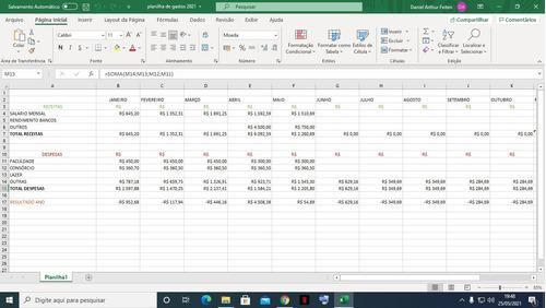 planilha pessoal controle financeiro