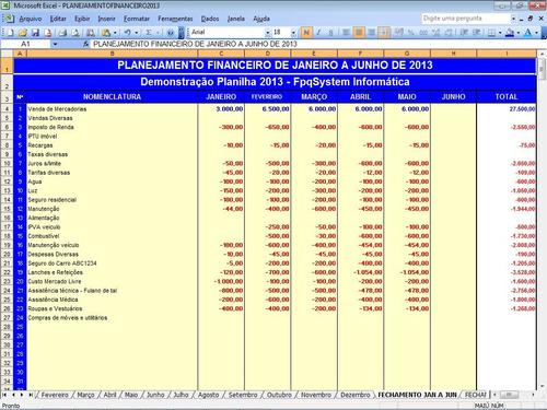 planilha planejamento financeiro e fluxo de caixa 2021