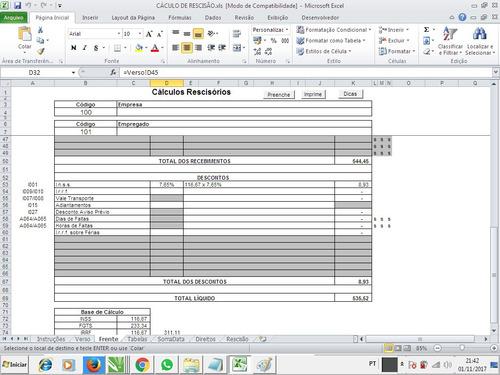 planilha rescisão cálculos (promoção)