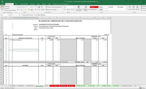 planilhas cálculo de obras ( 16 planilhas no total+extensão)