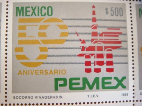 planilla  25 timbres postales 50 aniversario pemex 1988