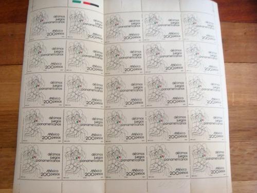 planilla  25 timbres postales decimos juegos panamericanos