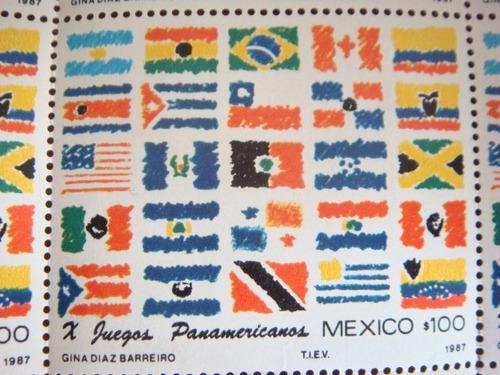 planilla  25 timbres postales x juegos panamericanos 1987