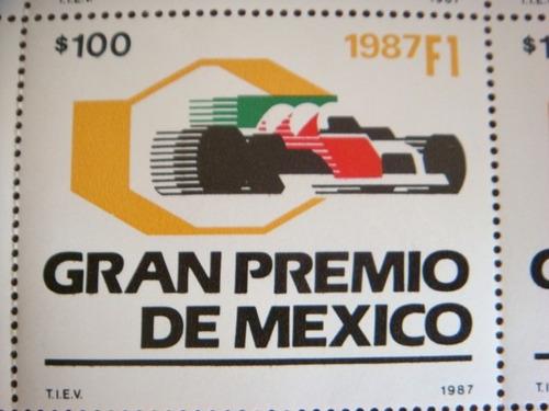 planilla de 25 timbres postales gran premio de méxico 1987