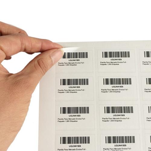 planilla para mercado envíos full - paquete 1,000 etiquetas