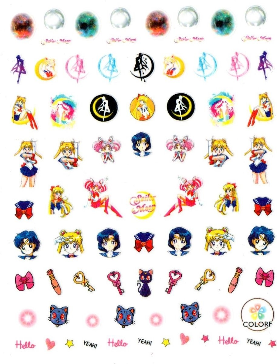 Planilla Stickers Para Uñas Nails Stickers Sailor Moon A39