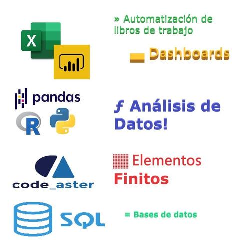 planillas excel/ programador /sql / python / ingeniería