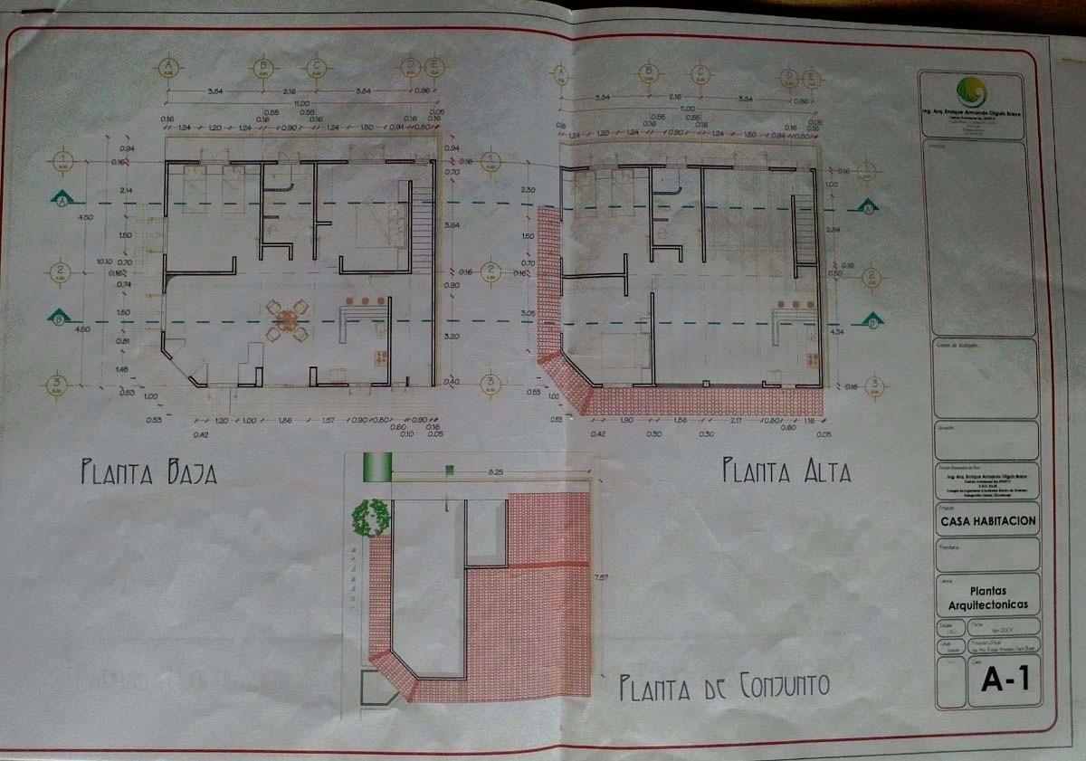 Plano arquitectonico casa 2 pisos 4 en mercado for Planta arquitectonica de una oficina