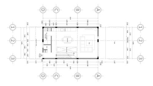 plano arquitectónico casa habitación 5.45x16.42