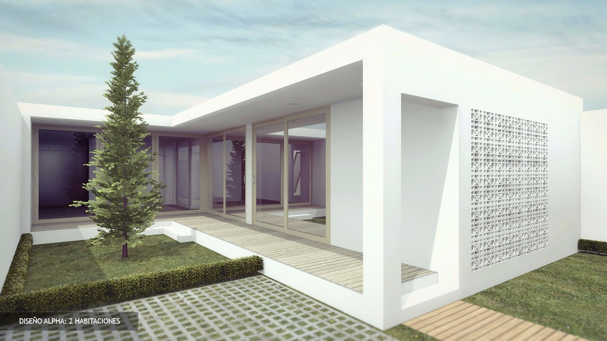 Plano casa minimalista facil construccion y economica for Casa minimalista 2 dormitorios