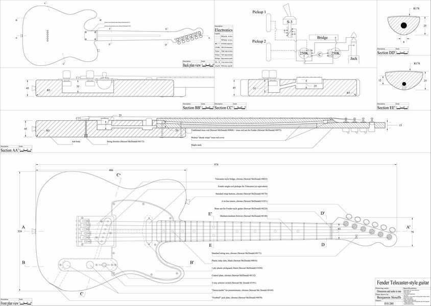 Plano Guitarra Telecaster Impreso En Escala Real