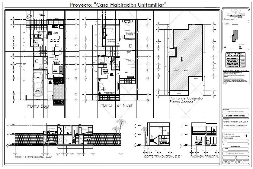 Planos arquitectonicos proyecto casa habitacion duarq for Pdf planos arquitectonicos