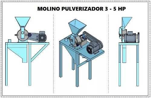 planos construccion molino pulverizador maiz 3-5 hp + receta