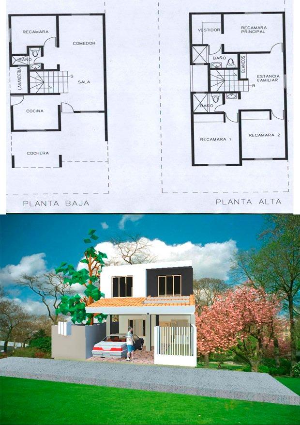 Planos de casas tipo medio listos para construir 2 000 for Modelos planos de casas para construir