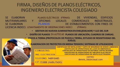 planos eléctricos, firmas, indeci, enel, luz del sur.