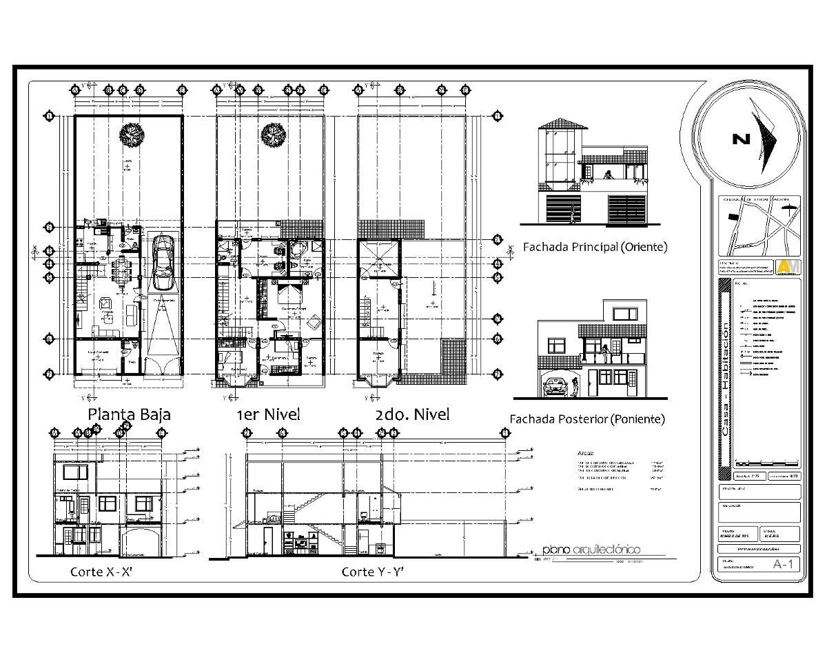 Planos proyecto arquitect nico instalaciones estructural for Planos de casa habitacion