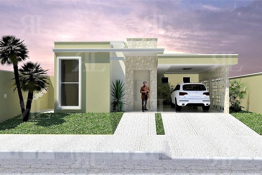Planta arquitet nica casa t rrea moderna terreno 12 x 20 for Casa moderna 1 8