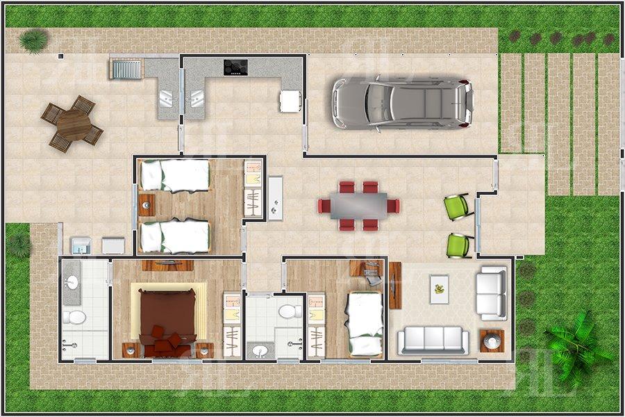 Planta arquitet nica casa t rrea moderna terreno 13 x 18 for Casa moderna l