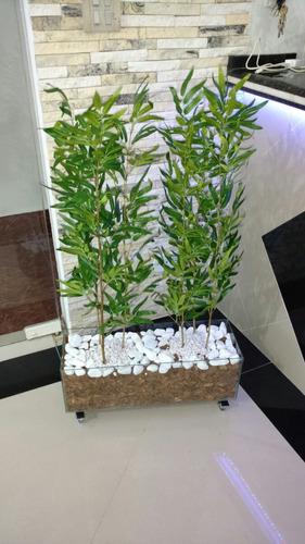 planta artificial bambu reto cachepo e rodinhas
