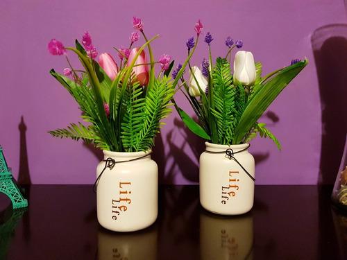 planta artificial flor decorativa maceta adorno 1pzs
