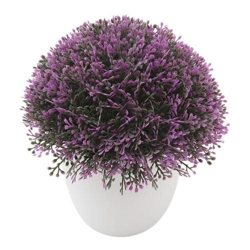 planta artificial flor morada redonda 16 cm, con maceta