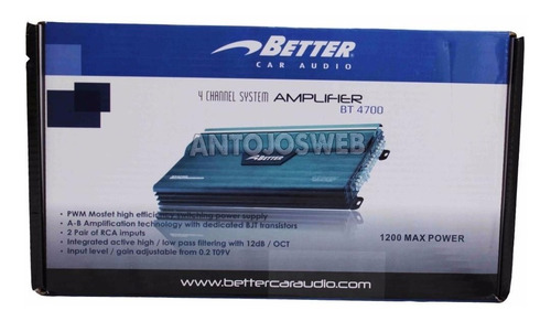 planta better 1200w bt4720 bt4700 4 canales sonido carro