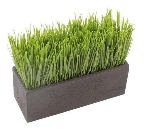 planta decorativa artificial pasto continuo con maceta