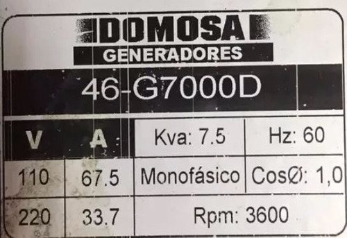 planta eléctrica 7.5kva 46-g7000 motor lombardini nueva