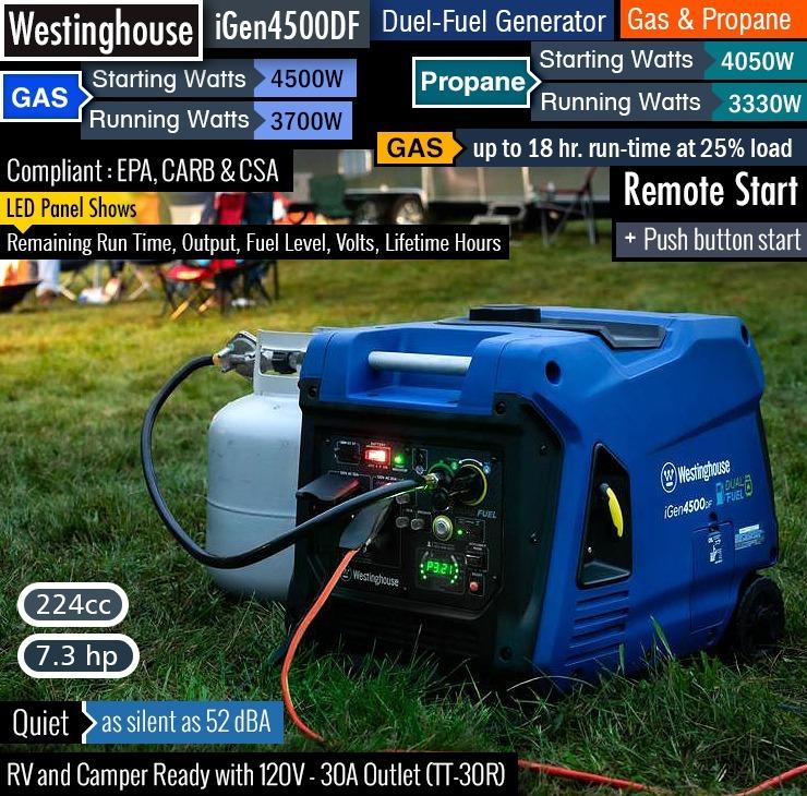 Planta Electrica Westinghouse 4500 Dual Gas/gasolina
