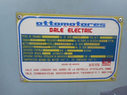 planta generadora 820 kw o 1000 kva