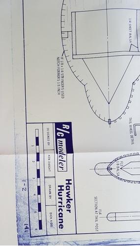 planta impressa avião huricane 170 cm envergadura