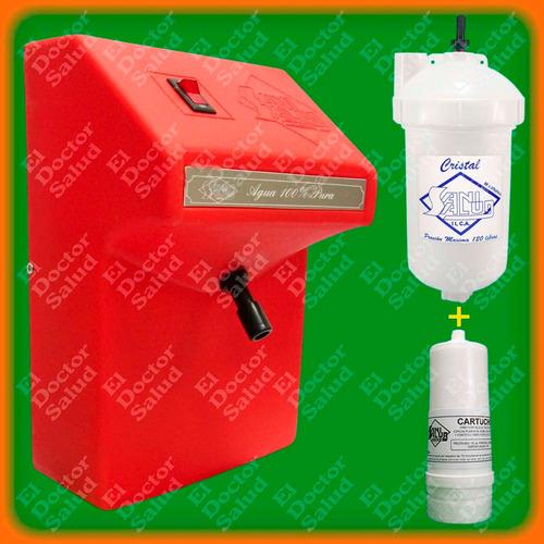 planta ozono sani salud fija roja + filtro agua + multikit