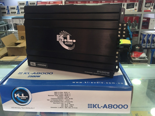 planta para carro kl audio kl-a8000 2500 watts