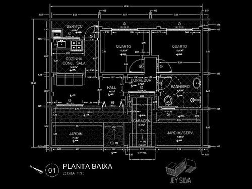planta técnica residencial ou modelagem 3d