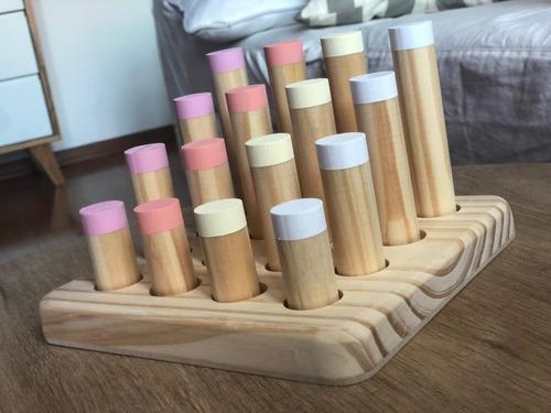 plantado de madera encastre seriacion orden color motricidad