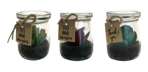 plantas artificiais kit com 3 carquito 6.9 cmx 5.5 cm vaso vidro