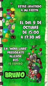 Plantas Vs Zombies Invitación Tarjeta Digital Imprimible