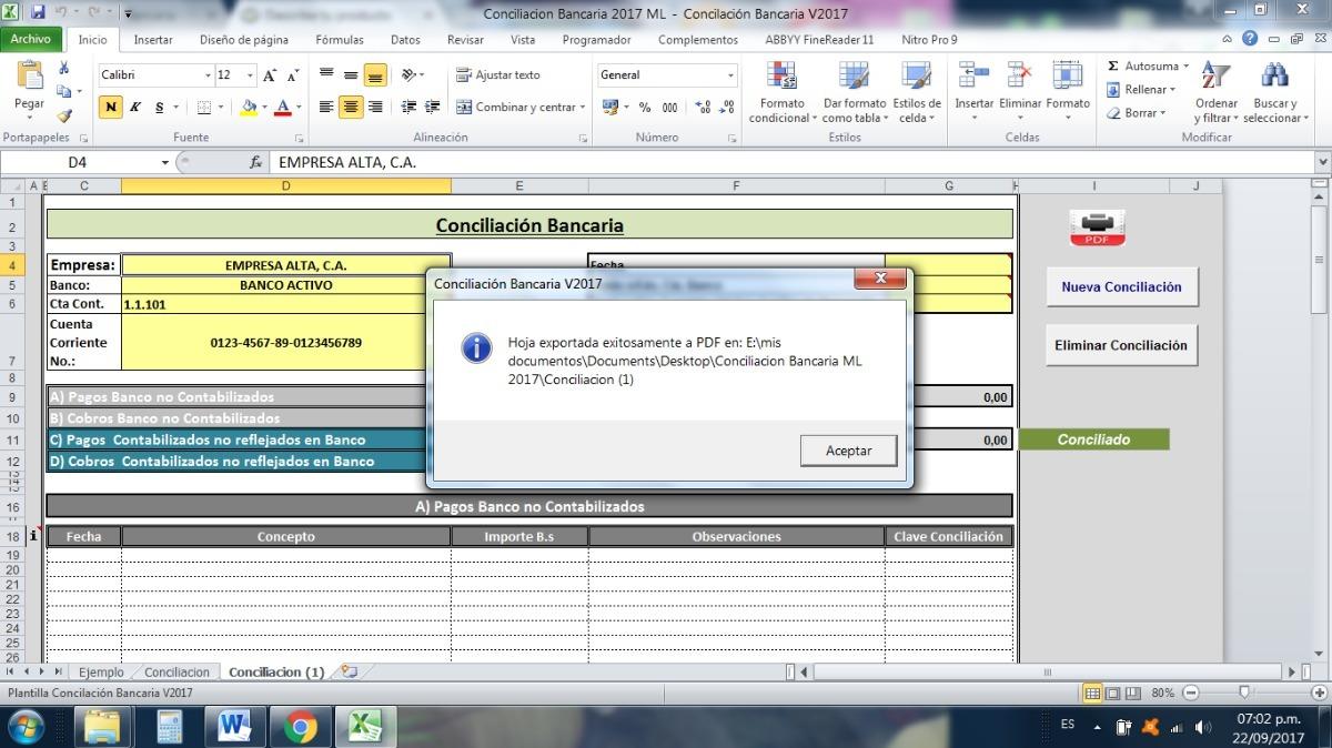 Plantilla Conciliación Bancaria En Excel - Bs. 350.000,00 en Mercado ...