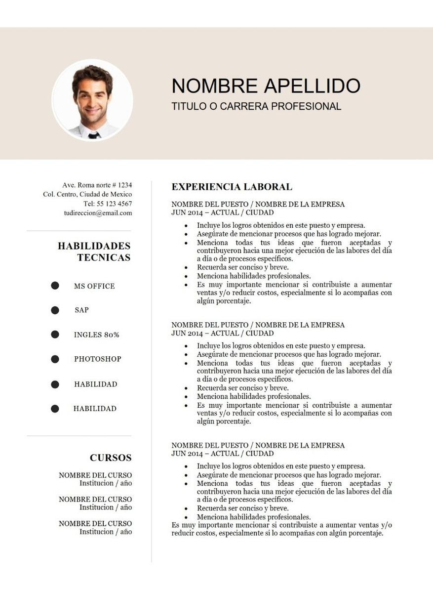plantilla cv curriculum vitae - 2 paginas - word docx